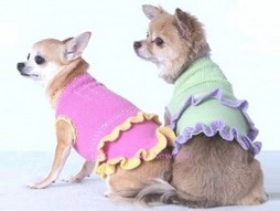 Knitted Ruffle Dress On Dogs
